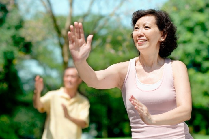 Tai chi reduced blood pressure and body mass index, maintained normal renal function, and improved physical health.